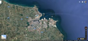 Brindisi vista dal satellite su Google Maps.