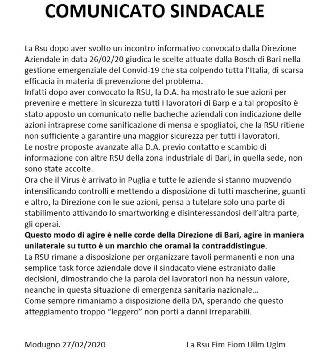 """Aziende Modugno Zona Industriale coronavirus, """"dateci guanti e mascherine"""": sindacati contro"""